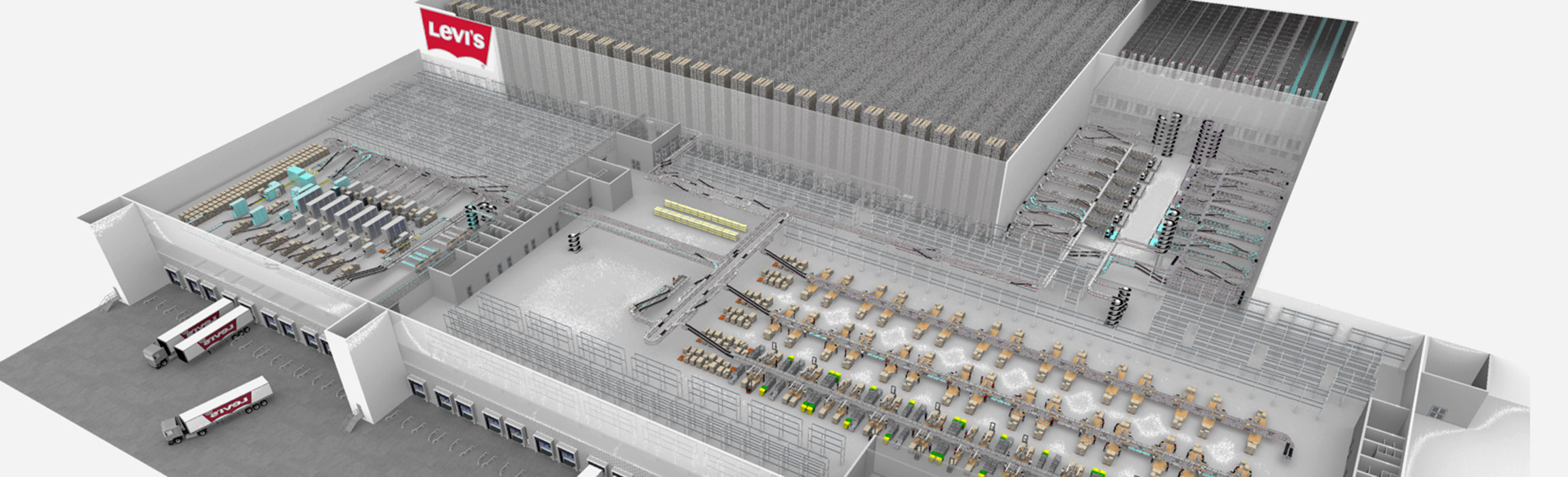In dem Distributionszentrum des US-Unternehmen Levi Strauss & Co können Millionen Teile jährlich ausgeliefert werden.