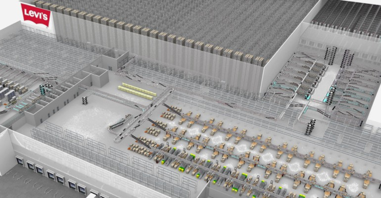 The distribution centre of the US company Levi Strauss & Co can deliver millions of parts annually.