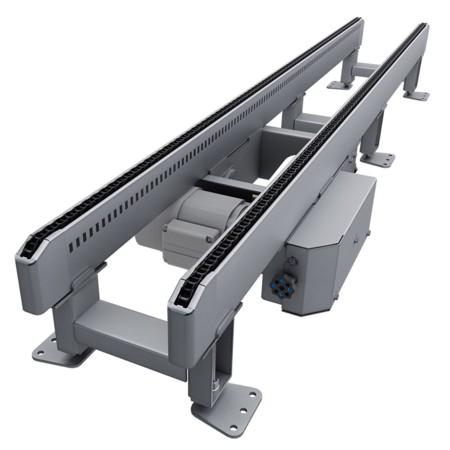 Rollcontainerfördertechnik: Rendering des Kombikettenförderer CKF.
