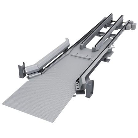 Rollcontainerfördertechnik: Rendering des Ein-/Auslauf.