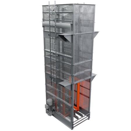 Rollcontainerfördertechnik: Rendering des Gerüstschachthebers.