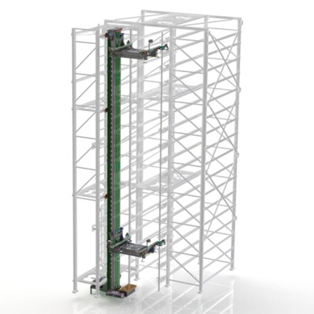 The shuttle lifter provides transport between the individual levels