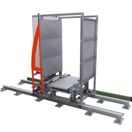 Rollcontainer-Fördertechnik: Rendering des Verschiebewagen.