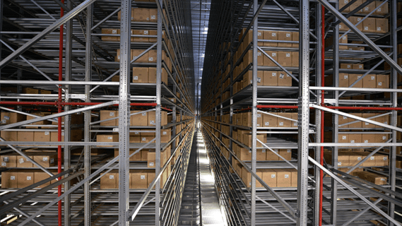 The enormous automatic push/pull carton warehouse on two levels.