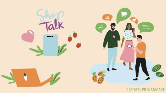 "The US groceries delivery service Instacart has set up a virtual meeting place called ""Shop Talk"" for its customers."